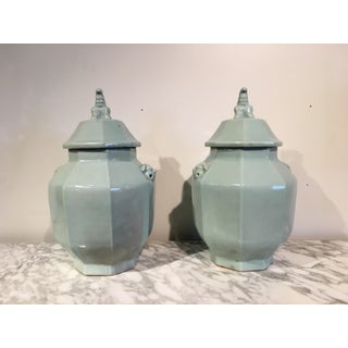 Pair Large Chinese Celadon Glazed Octagonal Covered Ginger Jars, 20th century