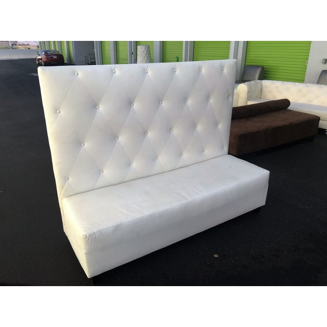 White Tufted Leather High Back Bench Chairish