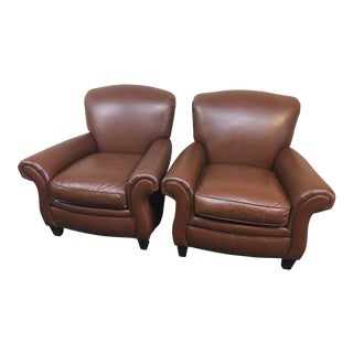 Hancock & Moore Leather Club Chairs - A Pair
