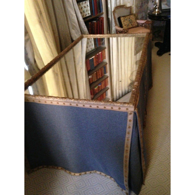 Wool Felt and Gold Braid Skirted Dressing Table with Antique French Mirror Top - Image 4 of 8