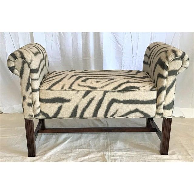 Zebra Print Scroll Arm Bench - Image 2 of 4