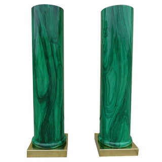 Dramatic Malachite Finish Columns - A Pair