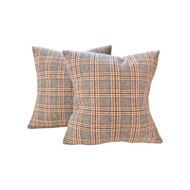 Neutral Tartan Harris Tweed Down Pillows - A Pair - Image 1 of 4