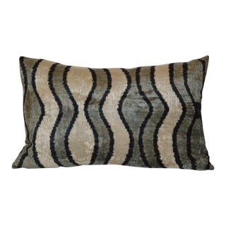 """Natasha"" Contemporary Silk Velvet Ikat Pillow"