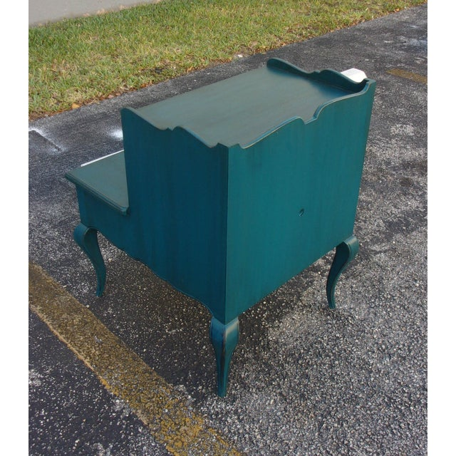 Mid-Century Blue Nightstands - Pair - Image 6 of 9