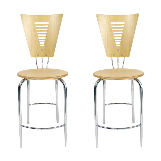 Vintage Post Modern Memphis Era Barstools - A Pair - Image 1 of 10