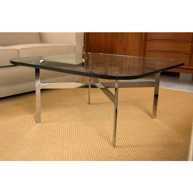 Mid-Century Steel X Base Cocktail Table - Image 5 of 9
