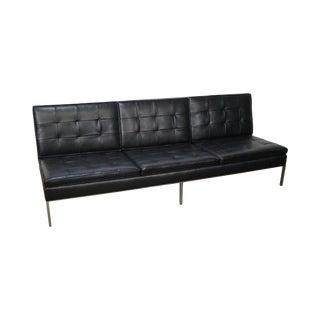 Florence Knoll Mid-Century Black Leather Armless Sofa