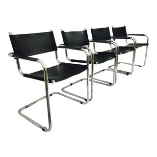 Vintage Chrome Cantilever Chairs - Set of 4