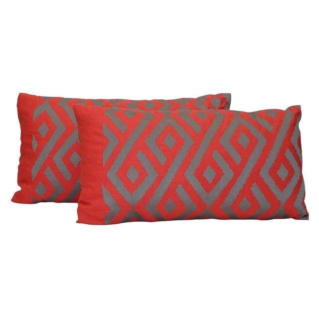New Stark Ikat Kidney Pillow - Single Pillow - Image 1 of 4