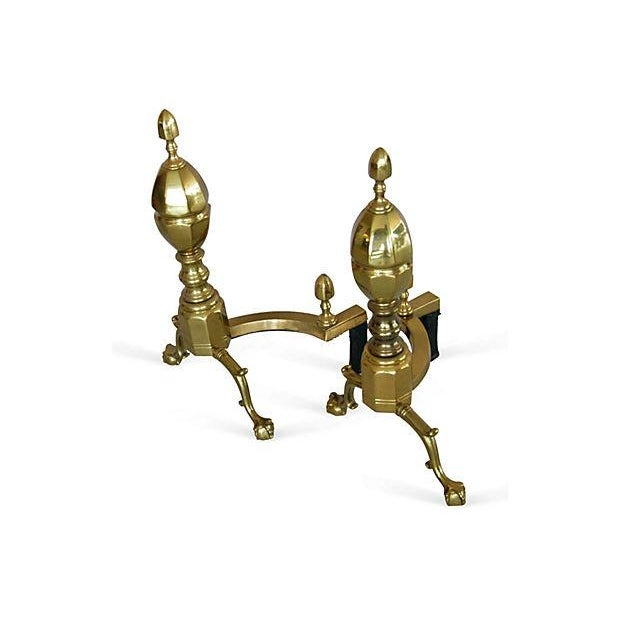 1950s French-Style Brass Andirons - Image 3 of 7