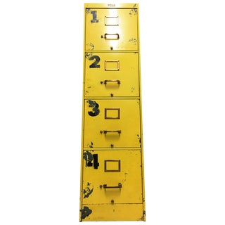 4-Drawer Yellow Industrial File Cabinet