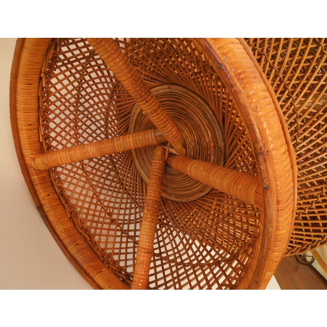 1970s French Woven Reed Rattan Coffee Table - Image 4 of 9