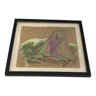 Contemporary Framed Pastel on Cardboard