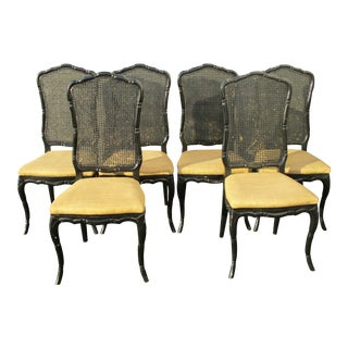Vintage French Country Black Tan Burlap Seats & Cane Dining Chairs- Set of 6