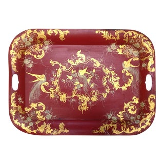 Red Tole Tray
