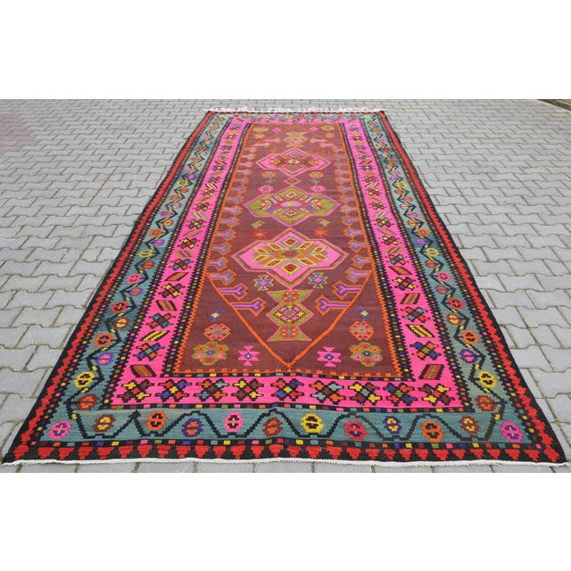 Anatolia Turkish Kilim Rug - 6′6″ × 14′2″ - Image 2 of 10