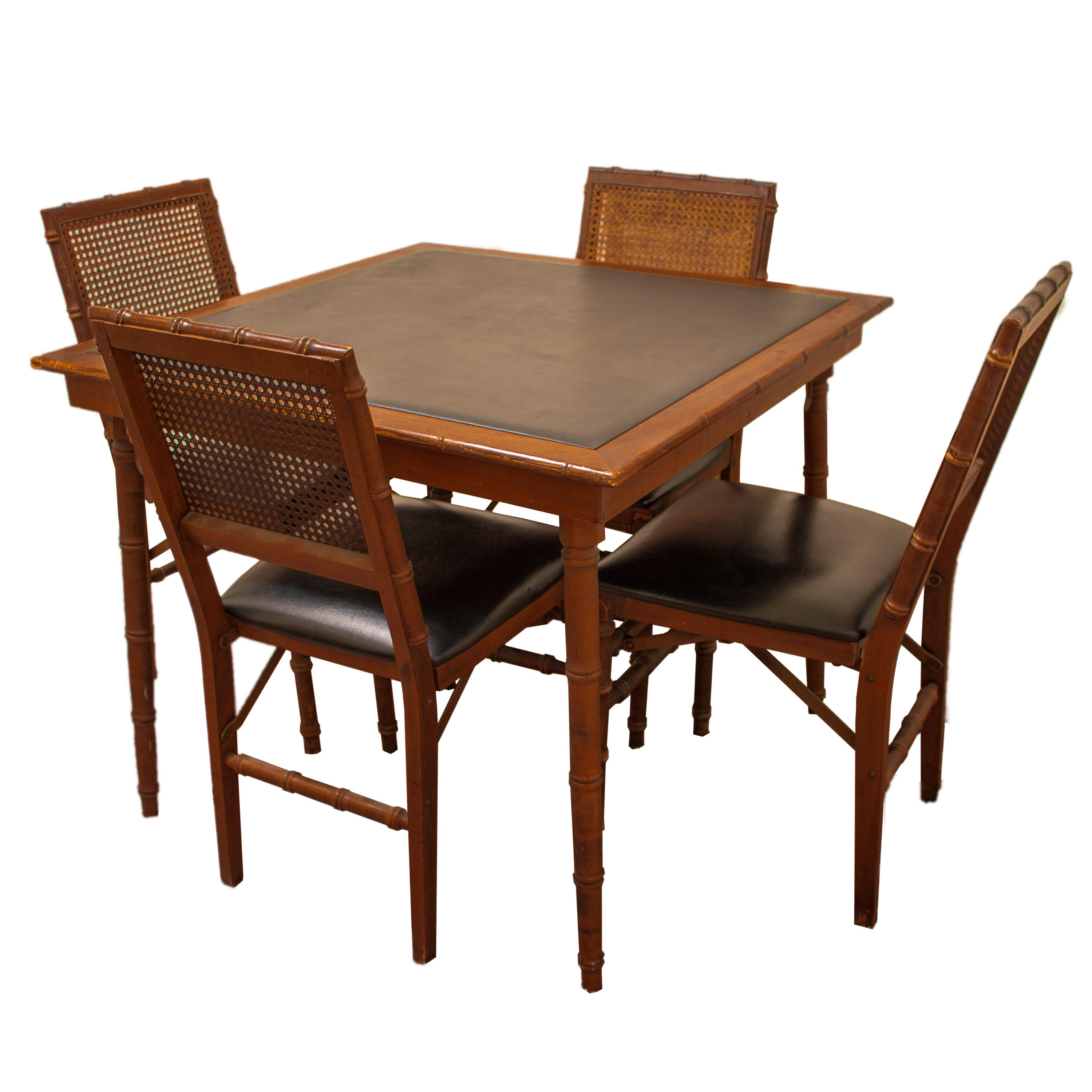 Mid Century Stakmore Folding Game Table And Chairs   S/5