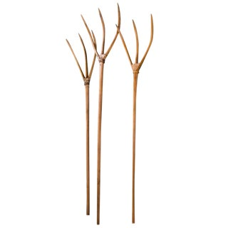 Set of Three Hand-Carved Wood Lavender Pitchforks from France, Circa 1940