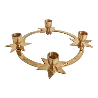 Vintage Brass Star Candle Holder Centerpiece