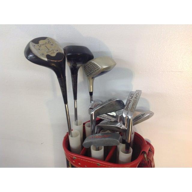 Vintage 1960s Red Tartan Spalding Golf Bag & Clubs - Image 3 of 7
