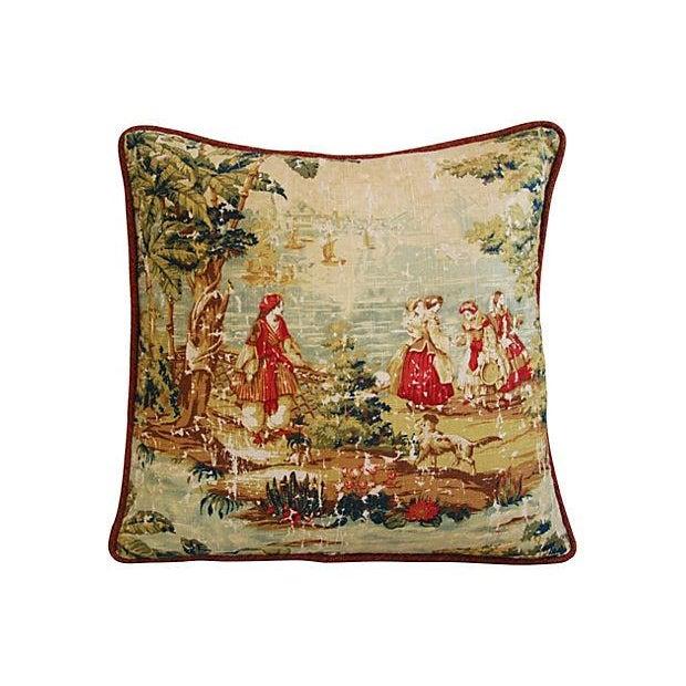Romantic Custom Renaissance Toile Pillows - Pair - Image 5 of 6