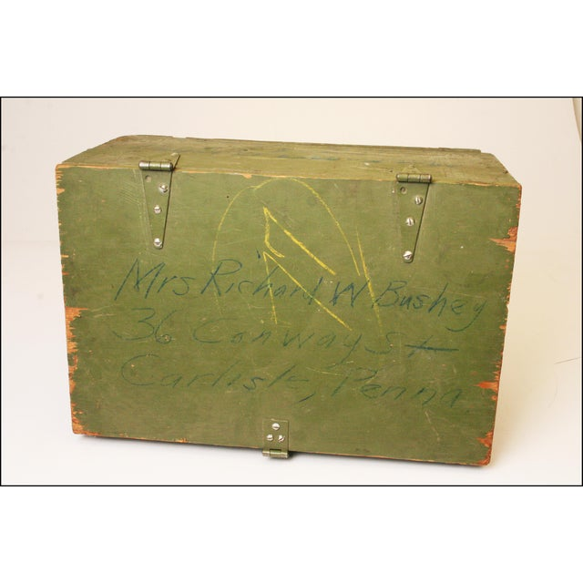Vintage Distressed Green Military Trunk - Image 8 of 11