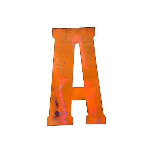 Image of Large Tangerine Metal Marquee Letter A