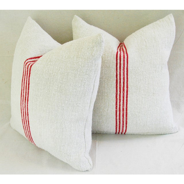 French Red Stripe Grain Sack Pillows - Pair - Image 9 of 9