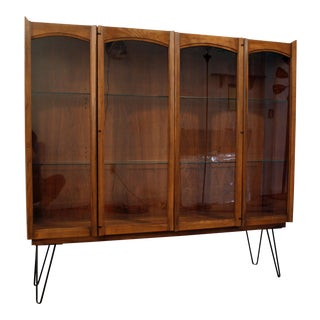Mid-Century Danish Modern Lighted Glass Door Walnut Cabinet/Credenza