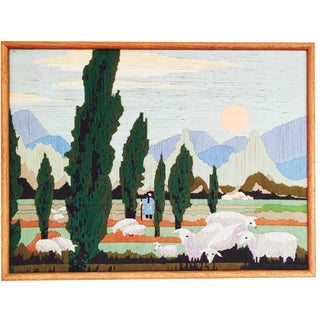 Vintage Woven Art Landscape