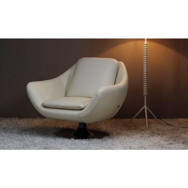 planum dante white leather swivel chair chairish