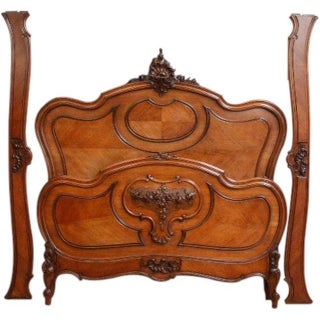Antique French Rococo Style Walnut Bed Frame