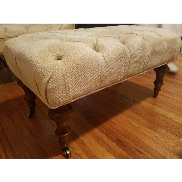 Classic Neutral Upholstered Ottoman - Image 4 of 4