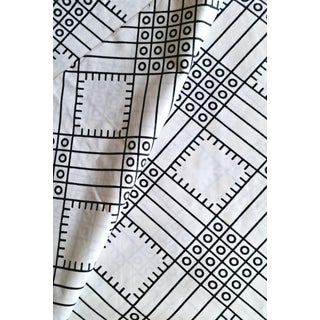 White & Black African Print Fabric - 6 Yards