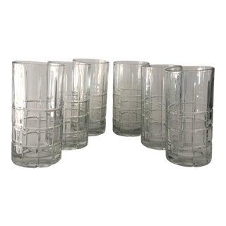 Vintage Crystal Plaid Highball Glasses - Set of 6
