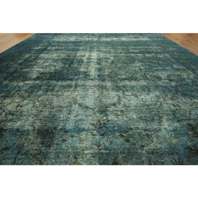 Irani Persian Blue Overdyed Wool Rug - 10'X13' - Image 4 of 8
