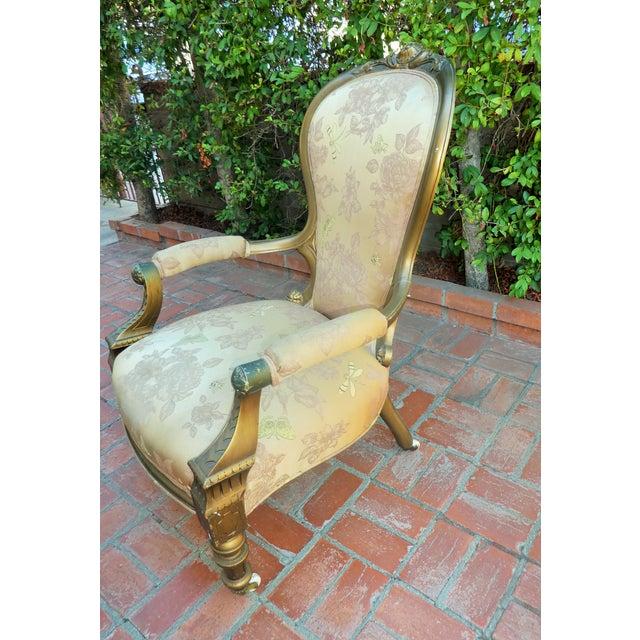 Floral Carved Frame Renaissance Revival Chair - Image 2 of 4
