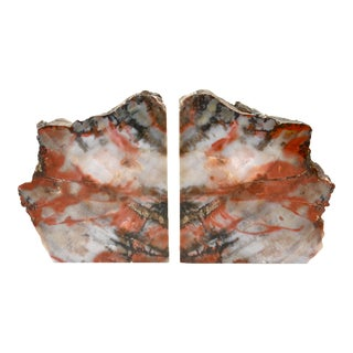 Iron Red Petrified Wood Slice Bookends - A Pair