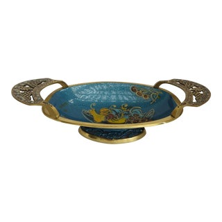 Brass & Blue Enamel Elongated Tray