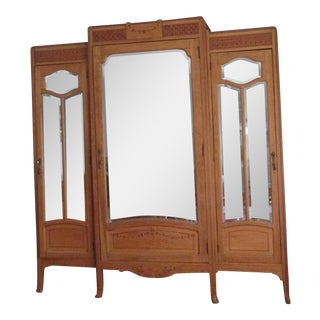 Vintage Oak Mirrored Armoire