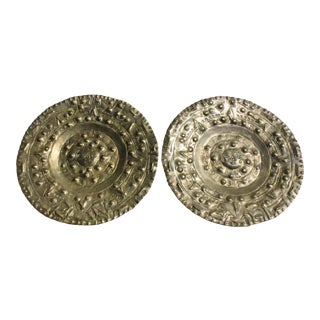 Vintage Brass Mayan Calendar Wall Display Plates - A Pair