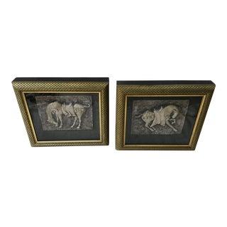 Shadow Box Framed Horse Plaques- A Pair