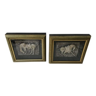 Shadow Box Framed Horse Plaques- A Pair