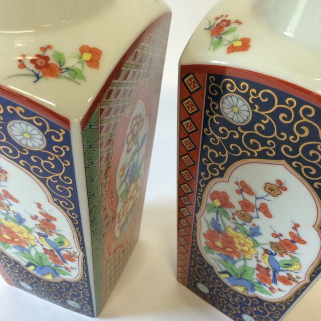 Chinoiserie Style Square Vases - A Pair - Image 3 of 10