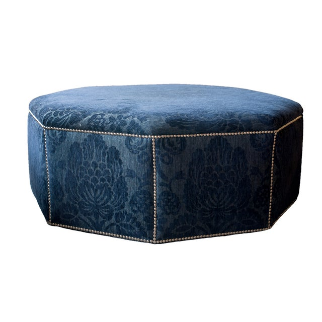 Dark Blue Octagon Floral Ottoman with Nailheads - Image 1 of 5
