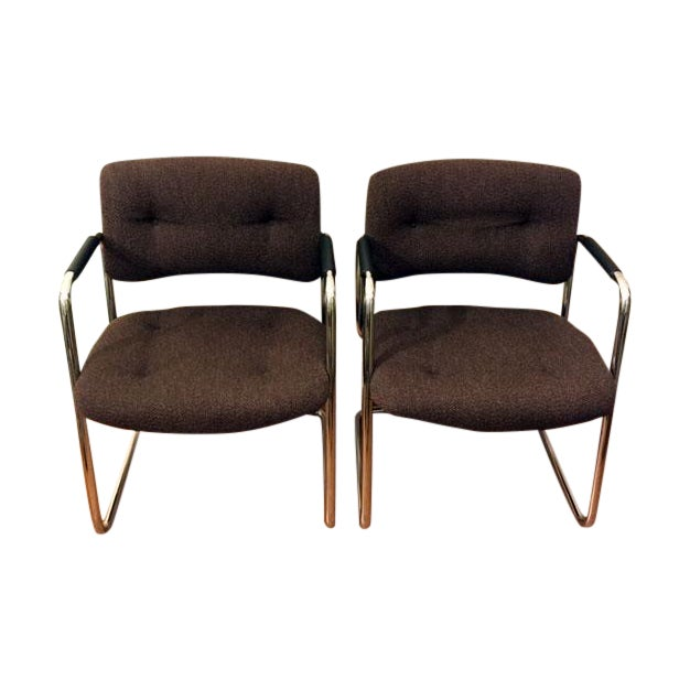 Steelcase Brown Chrome Cantilever Chairs - A Pair - Image 1 of 4