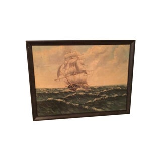 Sailboat Rough Waters Framed Painting