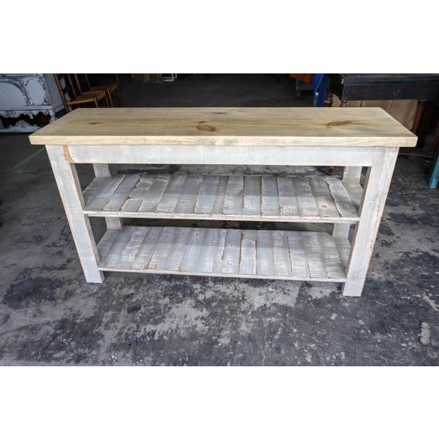Gray Reclaimed Wood Console Two Shelf Table With Light Distress - Image 3 of 8
