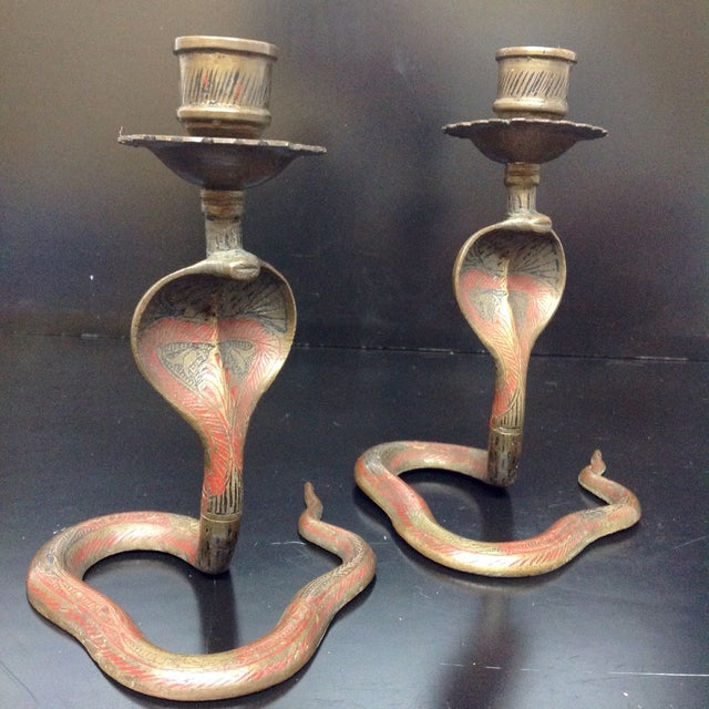 Image of Hollywood Regency Brass Cobra Candle Holders